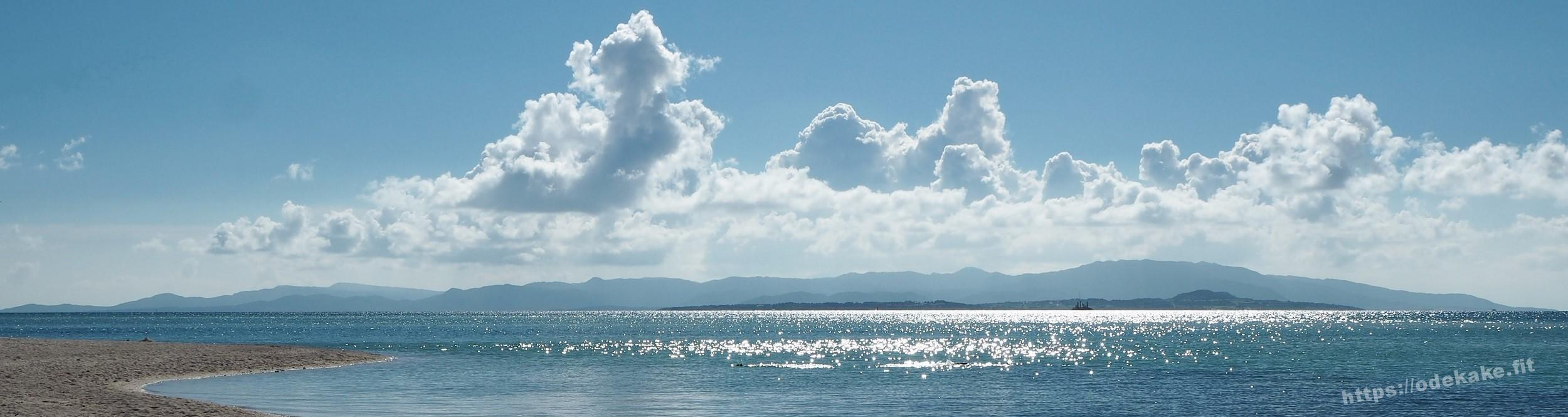【竹富島4】西日でキラキラのコンドイビーチと、開発反対の看板
